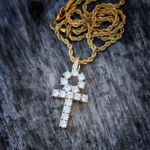 Other - Iced Out Ankh Cross Pendant Lab Diamond W/ Chain